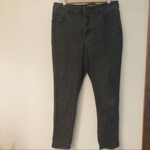 High Rise Skinny Crop Jeans with Button Fly